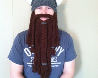 Epic Viking Beard Hat, Viking Helmet with Horns, Detachable Braided Beard and Mustache, Viking Costume, Warm Crochet Winter Hat