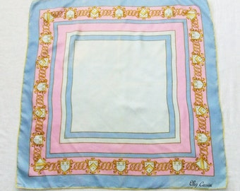 Vintage Oleg Cassini Silk Scarf Gold Chains Pink and Blue Border