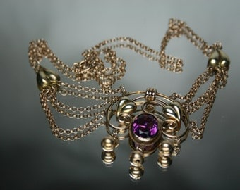 Vintage Gold Filled and Amethyst Necklace - Carl Art