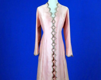 Dress 1960s Pink Shantung with Rhinestones and Faux Pearls