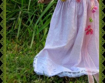 Doll Princess Dress, Pale Purple Hawaiian Princess Dress, Silver Accents, For 18 inch Dolls
