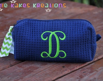 Personalized Waffle Cosmetic Bag with Fancy Initial