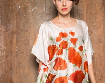 Handpainted silk satin blouse - Red poppies/ Women top hand painted. Summer fashion blouse. Floral top painted. Art to wear/ Silk painting