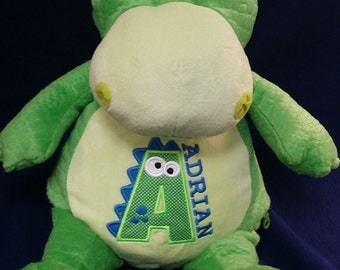 personalized baby gift, personalized    plush, green dinosaur,stuffed animal, keepsake, ORIGINAL Embroider Buddy, Best baby gift ever, subwa