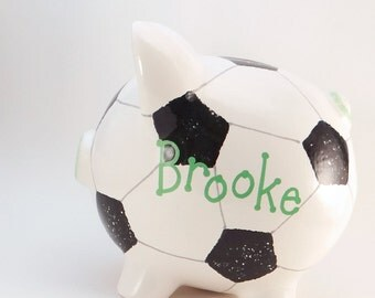 Soccer Ball Personalized Piggy Bank - Ceramic Soccer Piggy Bank - Sports Piggy Bank - Kids Piggy Bank - with hole or NO hole in bottom