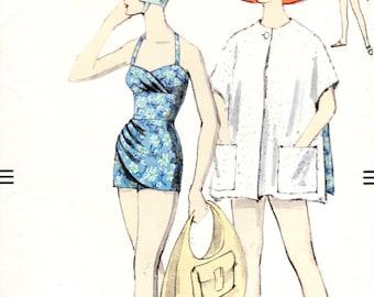 Vogue 9749 - vintage 1950s swimsuit / playsuit sewing pattern - bust 34