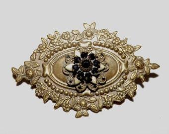Signed Liz Palacios Brass Relief Brooch Pin Amethyst Swarovski Crystals