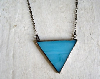 Minimalist BlueTriangle Glass Necklace Geometric Bib Stained Glass Jewelry