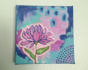 Abstract Flower Painting, Pink, Lavender, Aqua Blue, Navy Blue, Green, Small Original Painting 5x5 Canvas, Single Flower