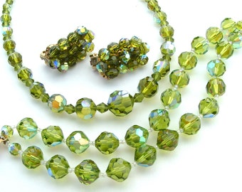 Vintage Chartreuse Peridot Green Faceted Glass Crystal Necklace Bracelet Earrings Jewelry Set Parure