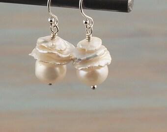 Freshwater Keishi Pearl Earring Cultered Freshwater Pearl Button & Keishi Petal Pearl Earring. Keshi Cornflake. Bridesmaid Wedding