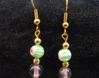 Green and purple flower and glass millefiore bead earrings in silver