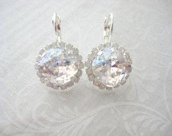 White Patina White Opal Swarovski Square Rhinestone Drop Earrings Wedding Jewelry Brides Earrings