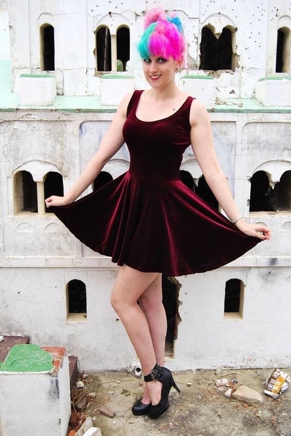 Mulled Wine Velvet Skater Dress