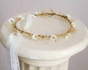 Wedding Bridal dried Flower crown daisy dried babys breath Romantic lace hair wreath Flower girl halo Wildflower summer garland accessories
