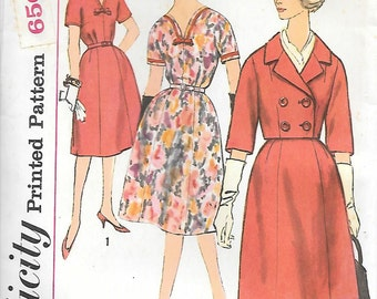 Simplicity 3602 UNCUT 1960s Half Size Dress and Crop Jacket Vintage Sewing Pattern Bust 35 or 37