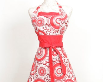Retro inspired Apron- Red and White Geo circular design