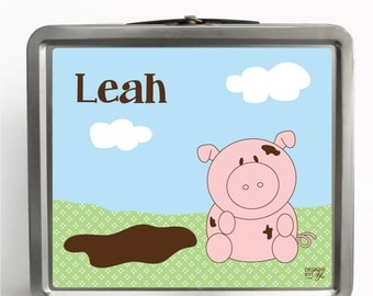 Personalized Lunch Box, Pig, Tin Lunch Box, Chalkboard Lid, Custom Gift