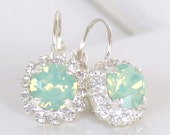 Chrysolite Opal Swarovski Crystals Framed with Clear Halo Crystals on Silver Lever Back Earrings, Crystal Halo Dangles