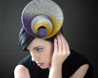 Modern Ombre Purple/Yellow/Grey Industrial Felt Fascinator - Orbital Series - Made to Order