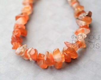 "Small Orange Carnelian Chip Beads  5-8mm  36""  strand"