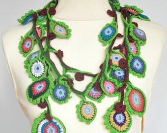 Spirit Eyes - Crochet Multicolor Eyes Long Scarf/Lariat