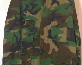 Vintage 1980s Camouflage US Army Jacket Military, Selma Apparel Corp Large Size