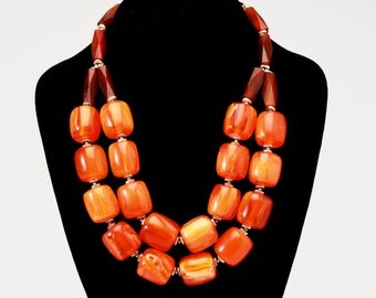 Big Orange Necklace with Resin and Brass Beads and Silver Clasp