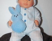 "Blue Sleeper with Stuffed Bunny for 12"" Corolle Mon Premiere Baby dolls"