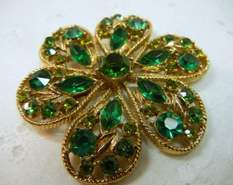 Weiss Rhinestone Pin / Flower Brooch with Multi Hue Green Stones / Vintage Weiss Pin / gift / birthday / Mother of the Bride