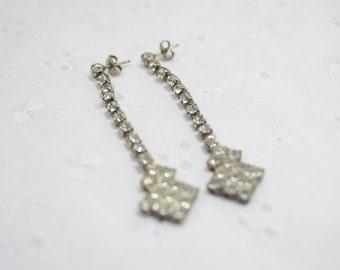 Rhinestone Dangle Earrings / pierced earrings / unmarked vintage earrings / clear stones / 1-cent shipping / birthday / Formal / Bling