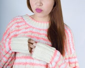 Vintage 60s Hand Knit Handmade Neon Pink Buttercream White Striped Vegan Long Sleeve Cable Knit Granny Sweater (sz XS S M)
