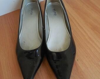Womens KITTEN heels , black patten heels ,StilettoRanch ,Cuties