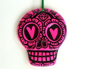 Sugar Skull Ornament Painted Neon Pink Black Day of the Dead Large Ceramic Flowers Hearts Dia de los muertos Wall Decor - READY TO SHIP