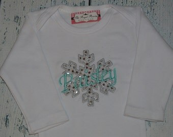 Personalized Sparkle Snowflake Bodysuit or Shirt