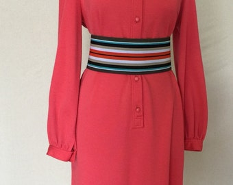 1970s Vintage Day Dress - Coral Colored Shirt Dress - Secretary Dress -  Shift Dress - Vintage Working Girl - Carillon New York - 42 Bust