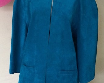 1980s UltraSuede Skirt and Jacket Set - Turquoise Ultra Suede Suit by Baron Peters - I Magnin - Plus Size Vintage - 48 Plus Bust