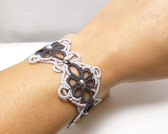 Handmade Tatted two tone Lace Cuff Bracelet with Sterling beads -Celtic Baroque OOAK Snappy Tatter lacework
