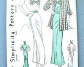 Uncut 1930s Simplicity 1474 Vintage 30s Dress Sewing Pattern  Bust 36 inches