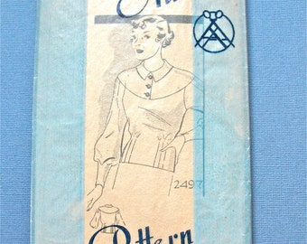 1930s Blouse Pattern by Anne Adams 2497 Vintage 30s Sewing Pattern   Bust 34 inches