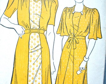 1930s New York Pattern 1260 Vintage Dress Sewing Pattern  Bust 34 inches