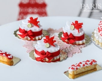 Red Cupid Oval Cake - Individual French Valentine's Pastry - Miniature Food