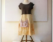 upcycled silk and charcoal dress - funky post punk tunic - bohemian grunge farm dress