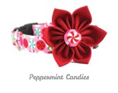 Pink Christmas Dog Collar - Peppermint Candies