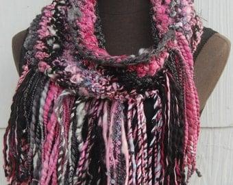 Handmade Crochet Gray, Black & Pink Fringed Cowl Neckwarmer OOAK