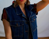 Indigo Denim Vest - 80s Jeans Vest - Sleeveless Jeans Jacket by Jordache Size Large Womens