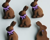 CHOCOLATE BROWN RABBIT - Easter Egg Bunny Animal Pet Dress It Up Craft Buttons