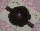 Brown Flower Headband, Brown Headband, Rhinestone Headband, Brown Baby Hair Bow, Baby Headband, Toddler Headband, Newborn Headband