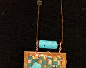 Woven Copper Necklace with Turquoise Ribbon and Beads - Item N2