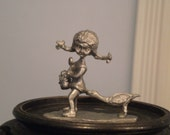 Pewter Girl and Duck Vintage Pewter Heriloom pewter Figurine